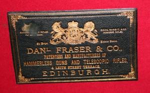 Daniel Frase & Co, original gunmaker's label