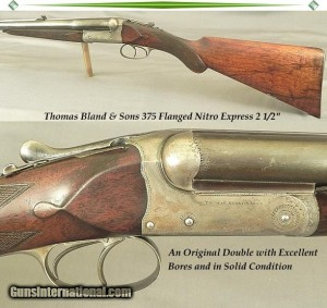 "THOMAS BLAND 375 FLANGED N. E. 2 1/2"" SXS DOUBLE RIFLE"