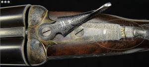 FINE ANTIQUE JAMES PURDEY SIDELOCK EJECTOR GAME GUN WITH ORIGINAL CASE. SN 14855.